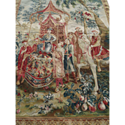 Magnificent antique large tapestry wool wall hanging verdure oriental scene Emperor 90 x 65 inches