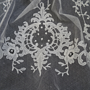 Delicious 19th C.  French carrickmacross hand embellished net tulle lace curtain floral motifs