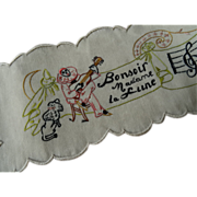 Amusing French hand embroidered children's musical panel Pierrot dog moon 1920's