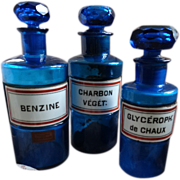 3  decorative 19th C. French blue glass apothecary : chemist storage bottles porcelain labels