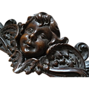 Delicious 19th C. French hand carved wood pediment fronton Angel Cherub wings