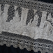 Superb antique lace panel elegant 17th century scene chateau bed canopy