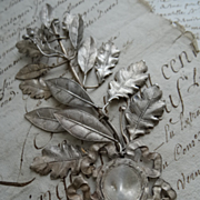 Decorative French silvered metal laurel and oak leaf award embellishment ribbon bow medallion 1930's