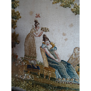 Exquisite antique French Empire : Georgian framed silk paint miniature embroidery romantic scene roses