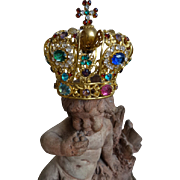 Opulent 19th C. French miniature ormolu bejeweled religious statuette crown Jesus paste stones