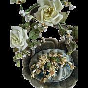 Unusual 19th century French faded grandeur blue basket wedding cushion porcelain roses wax posy