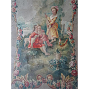Romantic French large painting Louis XVI STYLE bucolic scene floral garland swags : tapestry cartoon : wall hanging