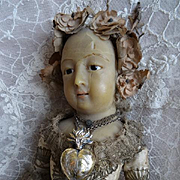 French small vermeil religious ex voto flaming sacred heart reliquary : box : chain : circa 1880