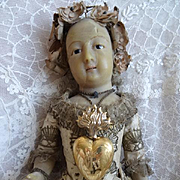 Unusual French gleaming vermeil flaming sacred heart reliquary crown Notre Dame de Lourdes , circa 1880
