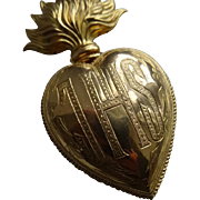 Unusual religious French ormolu flaming sacred heart ex voto reliquary IHS : Jesus  : 4 7/8th inch circa 1880