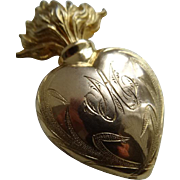 Delicious 19th C. French gilt brass religious flaming sacred heart unusual monogram  AM, circa 1880