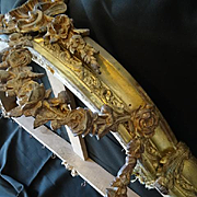Faded grandeur gilt brass bronze French bed corona : canopy : ciel de lit rose swags rococo Louis XV style, circa 1900