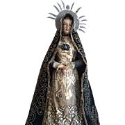 Faded grandeur antique Virgin Mary gesso wood religious statue doll sorrowful expression glass eyes original clothing crown