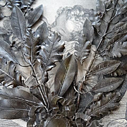 Decorative pair faded grandeur French laurel and oak leaf award embellishments ribbon bow medallions