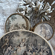 Delicious antique French faded grandeur candy bonbon boxes fabric metallic passementerie boite a dragees christening