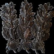 3 faded grandeur French repousse metal laurel oak leaf award branch embellishments