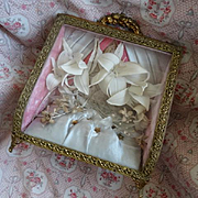 Faded grandeur antique French pink grey wedding display box : cabinet : bride's Lily crown wax corsages