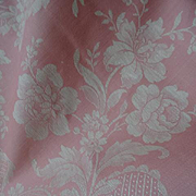 Delicious huge morceau French candy pink and cream ticking fabric floral ribbon bow motifs 71 x 172 inches