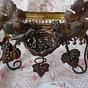 Adorable 19th C. French faded grandeur repousse gilt metal wedding cushion display stand birds nest motif