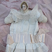 Adorable little girls cream drop waisted dress lace silk ribbon bow circa 1920  decorative hanger