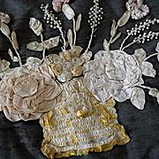 Shabby faded grandeur French ribbon work cushion basket rose flower motifs 1900's