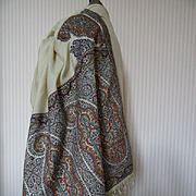 Rare early 19th C. cream cashmere Kashmir European Paisley design stole shawl Georgian period