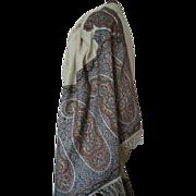 Rare early 19th C. cream cashmere Kashmir European Paisley design stole shawl Georgian period