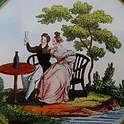 Decorative French eglomise candy bonbon box Romantic scene circa 1820 -1830