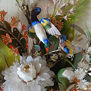 Rare Incredible 19th century French shadow box romantic feather work  bouquet : birds : silk bow