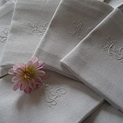 Delicious set 10 antique French dowry linen granite napkins monogram  AG en-twinned ribbon bow motif
