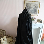 Enormous 19th century unused French luxury black silk wool shawl : chale Chateau attic find