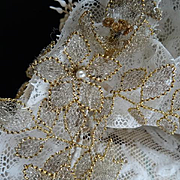 Rare French bride's lace wedding bonnet silver gold metallic flowers, faux pearls  silk ribbon bow : box : circa 1900
