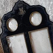 Unusual large faded grandeur antique French boudoir velvet photo frame monogram MP