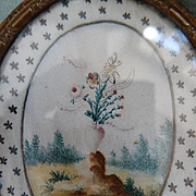 Decorative 19th C. French sentimental hand painted miniature watercolor hare or dog heart pansy lily  star motifs