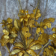 Delicious 19th C. French faded grandeur gold foil floral bouquet : beads : tinsel  : lily: Christmas