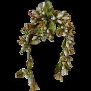 Romantic French bride's  orange blossom wax wedding crown : tiara : corsage circa 1900