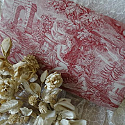 Delicious large antique French toile fabric covered cardboard boudoir box sentimental scene : inscriptions : dog