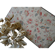 Extra large French fabric covered boudoir : sewing box exotic bird and floral motifs, metallic trim 19 3/4 x 11 7/8th inches