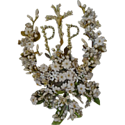 Decorative 19th C. French bride's wax wedding piece lily of the valley artificial flowers monogram