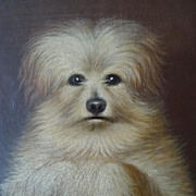Adorable antique French unframed portrait oil painting scruffy dog in begging position dated 1884