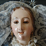 Exquisite antique Spanish Madonna Virgin Mary religious wooden carved statue signed Tomas Picas : second half 19th century  ,
