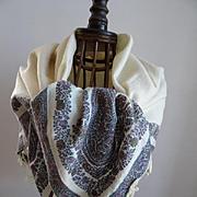Unusual square early 19th century cashmere kashmir Paisley cream centre shawl fringe