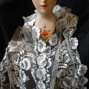 Rare sublime 19th C. French Blonde de Caen silk bobbin lace long wedding stole shawl with box