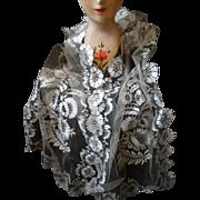 Rare sublime 19th C. French Blonde de Caen silk bobbin lace long wedding stole shawl with box