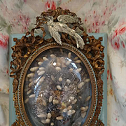 Rare delicious antique French blue framed boudoir  bride's wedding crown and bouquet  dove