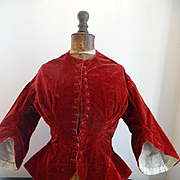 Charming 19th C. French ladies claret colored velvet wasp waist jacket pagoda sleeves