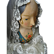 Delicious 19th C. faded grandeur decorative millinery mannequin head : marotte