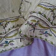 18th century French gentleman's cream taffeta silk waistcoat front hand embroidered floral motifs