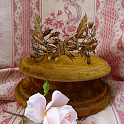 Delicious faded grandeur French ormolu oak and laurel wreath award crown ribbon bow