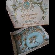 Delicious French bride's faded grandeur wax wedding parure crown original presentation box